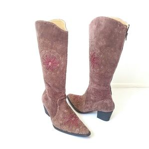 Artemis Anthropologie embroidered boho boots